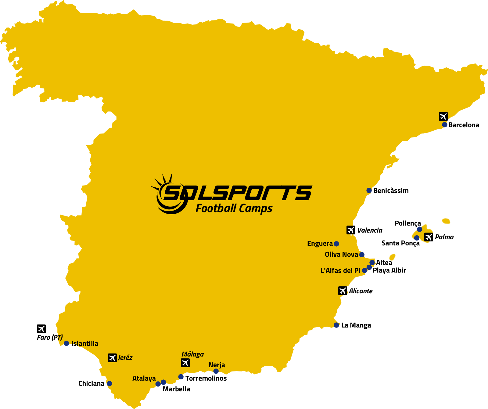 Football Map Of Spain.Sol Sports Football Training Camps In Spain For Pro And Amateur Teams